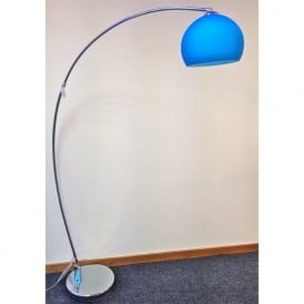 LRFLOORBLUE 1 Light Modern Floor Lamp Blue And Polished Chrome