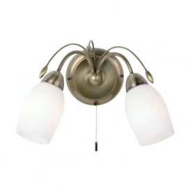 2007-2AN Meadow 2 Light Switched Wall Light Antique Brass