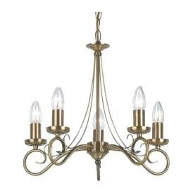 180-5AN Trafford 5 Light Ceiling Light Antique Brass