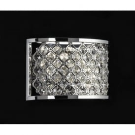 HUDSON-2WBCH Hudson 2 Light Crystal Wall Light Chrome