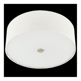 91282 Kalunga 3 Light Ceiling Light Satin Nickel Linen Fabric