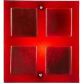 VERNER-1WBRE Verner 1 Light Glass Wall Light Red