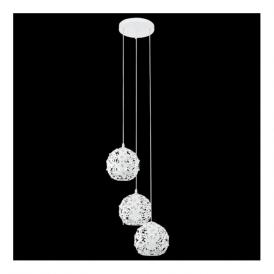 92285 Hanifa 3 Light Pendant White Steel Clear Beads