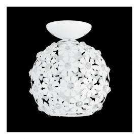 92282 Hanifa 1 Light Ceiling Light White Steel Clear Beads