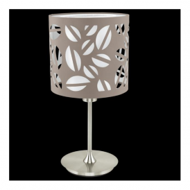 92385 Biandra 1 Light Table Lamp Satin Nickel and Pattered Taupe Fabric