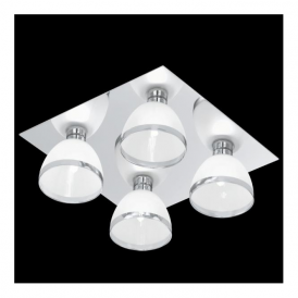 91841 Bastillio 4 Light Ceiling Light Chrome With White Satinated Glass