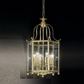 LA7006/6 Montpelier 6 Light Ceiling Lantern Polished Brass