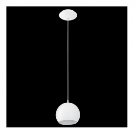 Eglo 92357 Petto 1 Light Pendant White Steel
