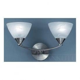 PE9672/786 Meridian 2 Light Wall Light Brushed Nickel
