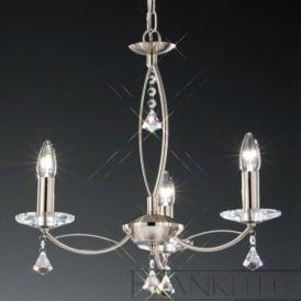 FL2225/3 Monaco 3 Light Crystal Ceiling Light Satin Nickel