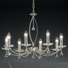 FL2225/8 Monaco 8 Light Crystal Ceiling Light Satin Nickel