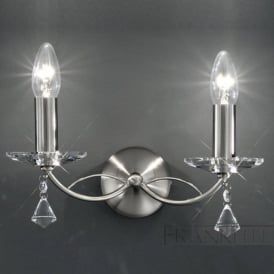 FL2225/2 Monaco 2 Light Crystal Wall Light Satin Nickel