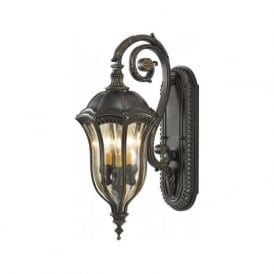 Lighting Feiss FE/BATONRG/M Baton Rouge 3 Light Outdoor Wall Lantern Walnut IP44