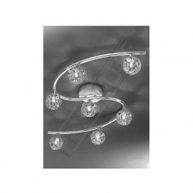 FL2305/7 Horologica 7 Light Crystal Ceiling Light Polished Chrome