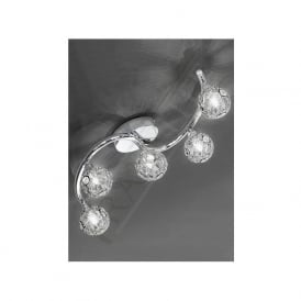 FL2305/5 Horologica 5 Light Crystal Ceiling Light Polished Chrome