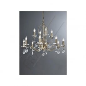 FL2299/12 Willow 12 Light Crystal Ceiling Light Bronze