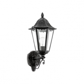 93457 Navedo 1 Light Outdoor Wall Light Black/Silver IP44