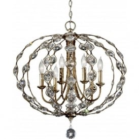 Lighting Feiss FE/LEILA6 Leila 6 Light Crystal Ceiling Pendant Burnished Silver