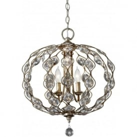 Lighting Feiss FE/LEILA3 Leila 3 Light Crystal Ceiling Pendant Burnished Silver