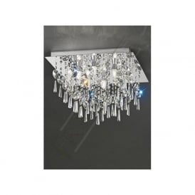 CF5722 6 Light Bathroom Crystal Ceiling Light Polished Chrome