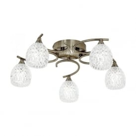 BOYER-5AB Boyer 5 Light Ceiling Light Antique Brass