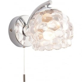 55160 Lawcross 1 Light Switched Wall Light IP44 Polished Chrome