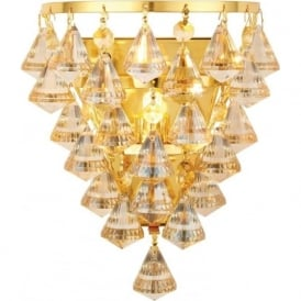 61246 Renner 1 Light Crystal Wall Light Polished Gold
