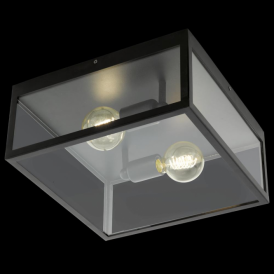 49392 Charterhouse 2 Light Flush Ceiling Light Black