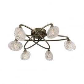 60646 Eastwood 6 Light Semi Flush Ceiling Light Antique Brass