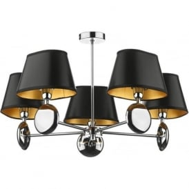 LEX0550 Lexington 5 light modern dual mount pendant ceiling light polished chrome finish optional small black or small ivory shades