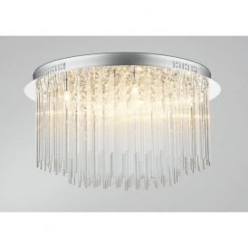 ICI4850 Icicle 8 light modern flush crystal ceiling light polished chrome finish