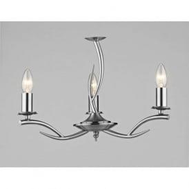 ELK0346 Elka 3 light traditional ceiling light pendant satin chrome finish