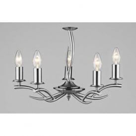 ELK0546 Elka 5 light traditional pendant ceiling light satin chrome finish