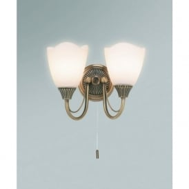 601-2AN 2 Light Switched Wall Light Antique Brass