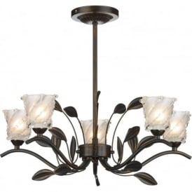 PRU0563 Prunella traditional 5 light semi flush ceiling light bronze finish with opal/clear glass shades