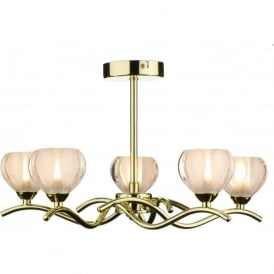 CYN0540 Cynthia 5 light modern ceiling light opal glass and polished brass finish