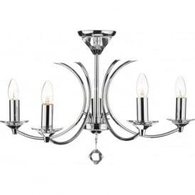 MED0550 Medusa 5 light modern ceiling pendant light crystal and polished chrome