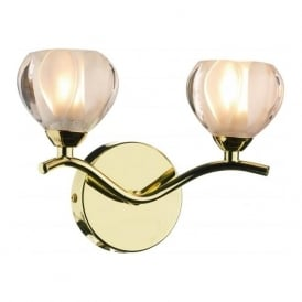 CYN0940 Cynthia 2 light modern wall light opal glass and polished brass finish (SWITCHED)