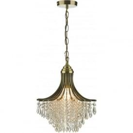 SUR0108 Suri 1 light modern crystal ceiling pendant antique brass finish