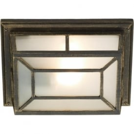 TRE5254 Trent 1 light traditional outdoor wall light IP44/21 rated black/gold finish