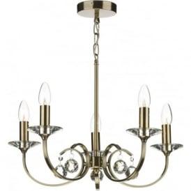 ALL0575 Allegra 5 light traditional ceiling pendant antique brass finish
