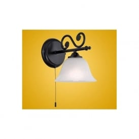 91006 Murcia 1 light traditional wall light black finish with a alabaster white glass shade (switched)