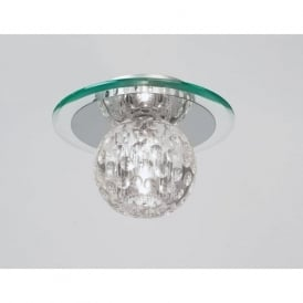 96471-CRY Tarota 1 Light Modern Flush Ceiling Light Chrome & Crystal Finish
