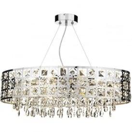 DUC6450 Duchess 6 light crystal ceiling pendant polished chrome finish