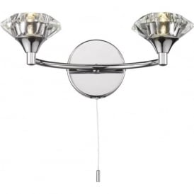 LUT0950 Luther 2 Light Crystal Wall Light Polished Chrome Switched