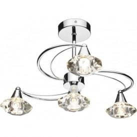 LUT0450 Luther 4 Light Crystal Ceiling Light Polished Chrome