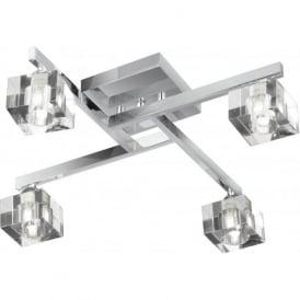 1014-4CC Sculptured Ice 4 Light Semi-Flush Ceiling Light Polished Chrome