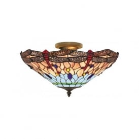 1289-16 Dragonfly 3 Light Semi-Flush Ceiling Light Antique Brass Tiffany