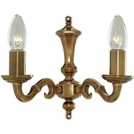 1072-2NG Malaga 2 Light Wall Light Solid Antique Brass