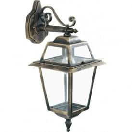 1522 New Orleans 1 Light Outdoor Wall Light Cast Aluminium Black/Gold Clear Glass IP44 Rated